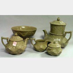 Five-Piece Wedgwood Drabware Tea and Coffee Set.