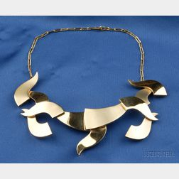 Artist-designed 18kt Gold Necklace, Hans Richter, Gem Montebello