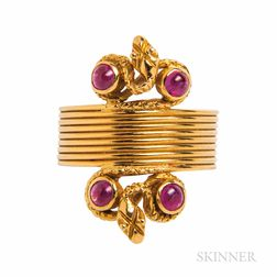 Lalaounis 18kt Gold and Ruby Snake Ring