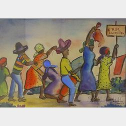Framed Haitian School Ink and Watercolor on Paper/board Scene with Figures Marching