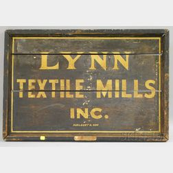 Lynn Textile Mills Inc. Painted Wood Sign
