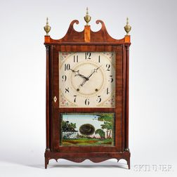 Eli Terry Mahogany Pillar and Scroll Shelf Clock