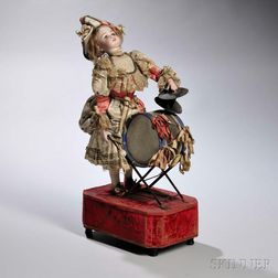 Roullet et Decamps Polichinelle Girl with Drum Automaton