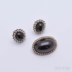 Garnet and Seed Pearl Brooch and Earring Suite