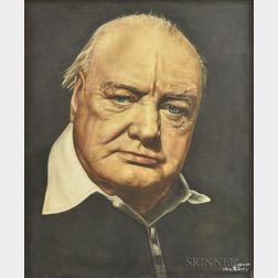 Framed Portrait of Winston Churchill Printed on Fabric