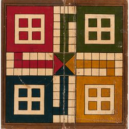Small Painted Folding Parcheesi Game Board