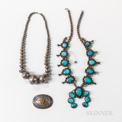 Three Silver and Turquoise Jewelry Items
