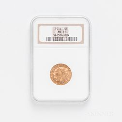 1912 $5 Indian Head Gold Coin, NGC MS61.     Estimate $200-400