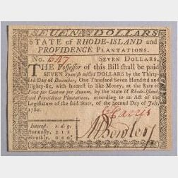 Massachusetts Seven Dollar Note.