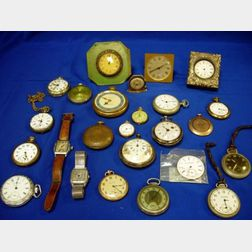 Group of Travel Clocks, Pocket Watches, and Wristwatches