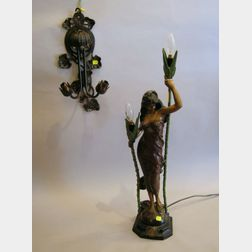 Modern Art Nouveau Style Patinated Cast Metal Figural Two-Light Table Lamp and a Two-Light Wall Sconce, and a Small Patinate Metal Remi