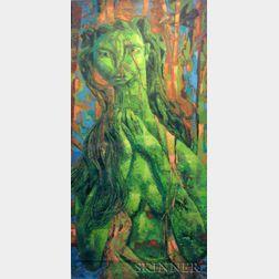 Carl Gustaf Simon Nelson (American, 1898-1988)    Figural Study in Green