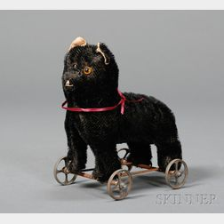 Early Black Bristle Mohair Cat-on-Wheels