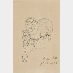 Beatrix Potter (British, 1866-1943)      A Ewe and Lamb Meet a Duckling