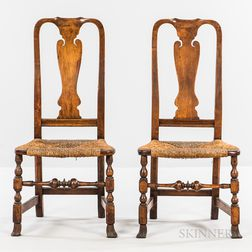 Pair of Cherry Rush-seat Side Chairs