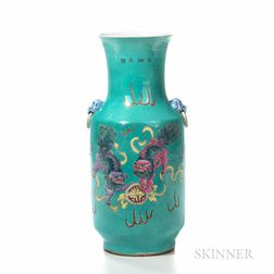 Famille Rose Turquoise Blue-ground Rouleau Vase