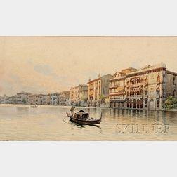 Manner of Eugenio Benvenuti (Italian, 1881-1959)      Along a Venetian Canal.