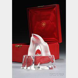 "Steuben Glass ""The Ice Hunter"" Sculpture"