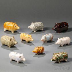 Ten Decoratively Glazed Pottery Piggy Banks