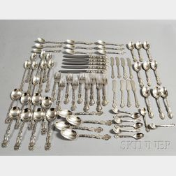 Sixty-eight Pieces of Monogrammed Gorham Sterling Silver Flatware
