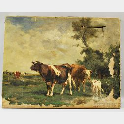 Marie Dieterle (French, 1856-1935)      Cows at Pasture.