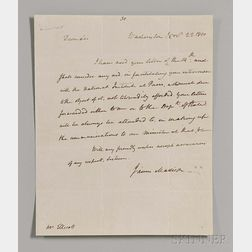 Madison, James (1751-1863) Autograph Letter Signed, 22 November 1810.