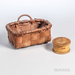 Woven Splint Basket and Paint-decorated Turned Wood Box