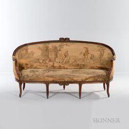 Louis XV-style Upholstered Walnut Settee