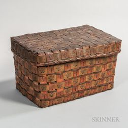 Covered Rectangular Native American Basket with Polychrome Decoration