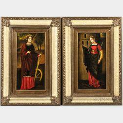Diana Mendoza (Peruvian, 20th Century)      Two Paintings of Female Saints