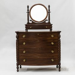 Late Federal-style Carved Mahogany Bow-front Chest of Drawers and Shaving Mirror