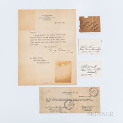 Yarnell, Harry E. (1875-1959) and Legeune, John A. (1867-1942) Signed Cards, Dewey, George (1837-1917) Typed Letter Signed, and Halpin