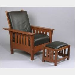 Reproduction Morris Chair and Footstool