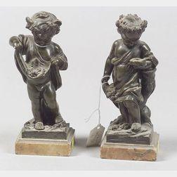 Pair of European Bronze Figures of Cherubic Children