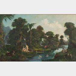 American School, 19th Century    Adam and Eve in the Garden of Eden.