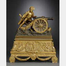 French Ormolu Mantel Clock Depicting Napoleon Bonaparte