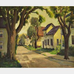 M.B. Radding (American, 20th Century)      Summer Village Street Scene