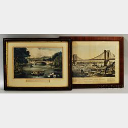 Two Framed Currier & Ives Hand-colored Engravings