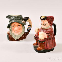 Royal Doulton Rip Van Winkle and Falstaff Ceramic Toby Jugs.     Estimate $40-60