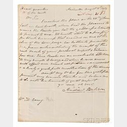 Jackson, Andrew (1767-1845) Autograph Letter Signed, Nashville, Tennessee, 3 August 1818.