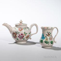 Two Staffordshire Enameled Salt-glazed Stoneware Items