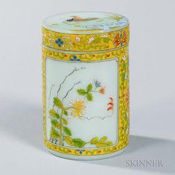 Enameled Peking Glass Covered Jar
