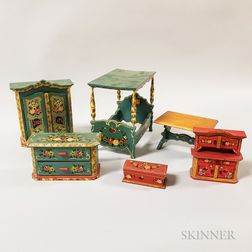 Six Pieces of Paint-decorated Wood Dollhouse Furniture.     Estimate $20-200
