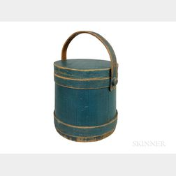 Blue-painted Pine Stave-constructed Firkin