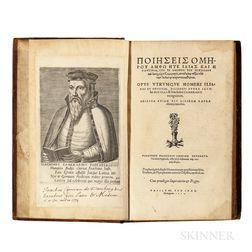 Homer (c. 750 BCE) Opus Utrumque Homeri Iliados et Odysseae, Diligenti Opera Iacobi Micylli & Ioachimi Camerarii Recognitum.