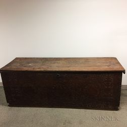 Large Pine Storage Chest with Carved Frieze
