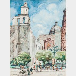Walter Steinhilber (American, 1897-1983)      Iglesia de San Francisco, San Miguel de Allende, Mexico