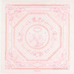 """Framed Hermes """"Jeux de Paille"""" Pink Silk Scarf"""