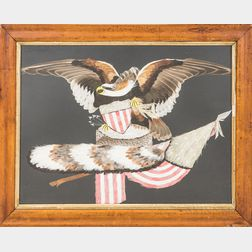 Framed and Painted Patriotic Featherwork Picture