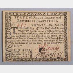 Massachusetts Twenty Dollar Note, 1780.